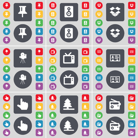 dropbox: Pin, Speaker, Dropbox, Film camera, Retro TV, Contact, Hand, Firtree, Radio icon symbol. A large set of flat, colored buttons for your design. illustration Stock Photo