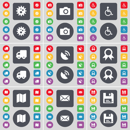 disabled person: Gear, Camera, Disabled person, Truck, Satellite dish, Medal, Map, Message, Floppy icon symbol. A large set of flat, colored buttons for your design. illustration