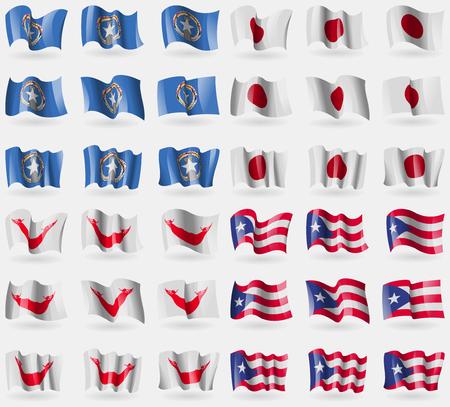 rapa nui: Islas Marianna, Japón, Pascua Rapa Nui, Puerto Rico. Conjunto de 36 banderas de los países del mundo. ilustración