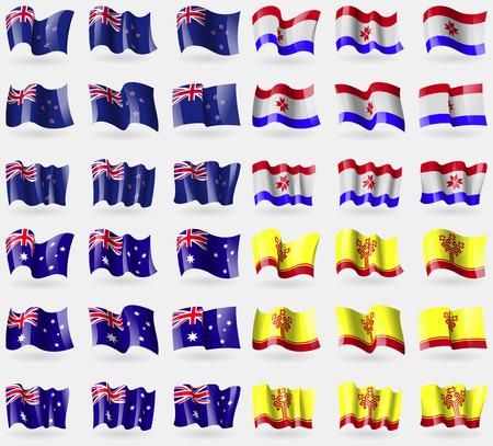 new zeland: New Zeland, Mordovia, Australia, Chuvashia. Set of 36 flags of the countries of the world. illustration Stock Photo