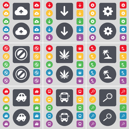 arrow down: Cloud, Arrow down, Gear, Stop, Marijuana, Palm, Car, Bus, Magnifying glass icon symbol. A large set of flat, colored buttons for your design. illustration