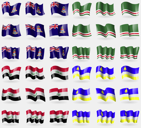 buryatia: Cayman Islands, Chechen Republic of Ichkeria, Iraq, Buryatia. Set of 36 flags of the countries of the world. illustration