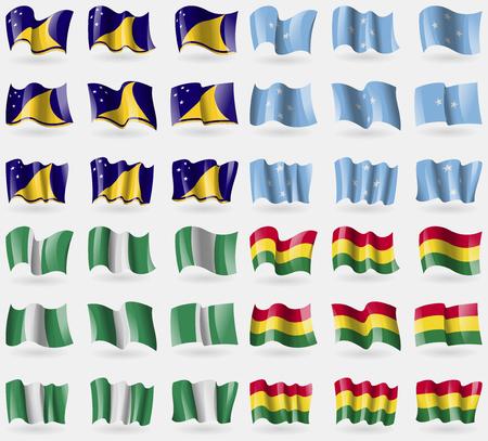 tokelau: Tokelau, Micronesia, Nigeria, Bolivia. Set of 36 flags of the countries of the world. illustration