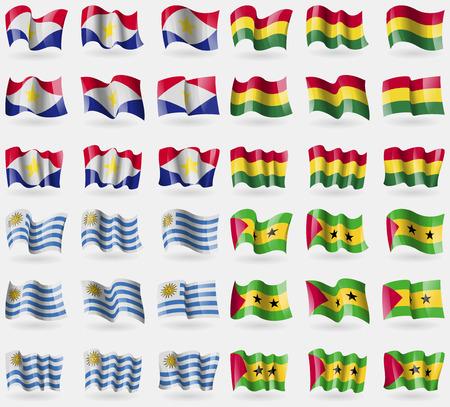 principe: Saba, Bolivia, Uruguay, Santo Tomé y Príncipe. Conjunto de 36 banderas de los países del mundo. ilustración