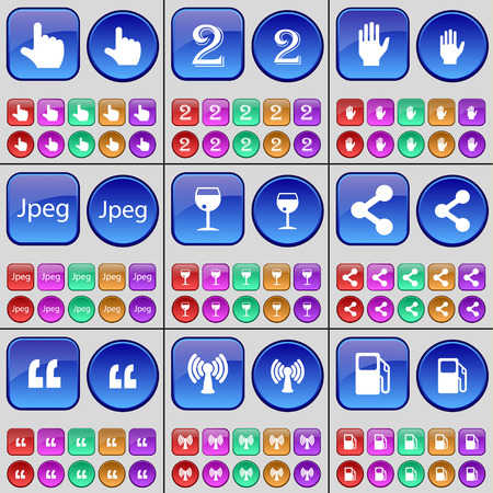 jpeg: Hand, Two, Hand, Jpeg, Wineglass, Share, Quotation mark, Wi-Fi, Gas station. A large set of multi-colored buttons. illustration Stock Photo