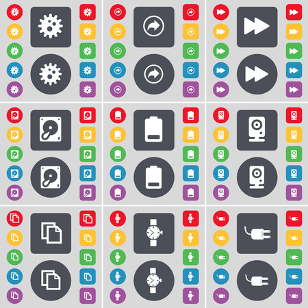 Gear, Back, Rewind, Hard drive, Battery, Speaker, Copy, Wrist watch, Socket icon symbol. A large set of flat, colored buttons for your design. illustration Stock Photo