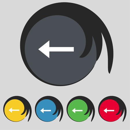 way out: Arrow left, Way out icon sign. Symbol on five colored buttons. illustration