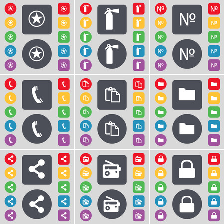 number lock: Star, Fire extinguisher, Number, Receiver, Survey, Folder, Share, Radio, Lock icon symbol. A large set of flat, colored buttons for your design. illustration Stock Photo