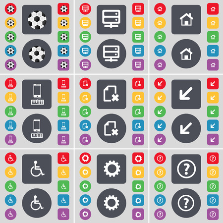 disabled person: Ball, Server, House, Smartphone, File, Deploying screen, Disabled person, Gear, Question mark icon symbol. A large set of flat, colored buttons for your design. illustration