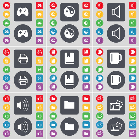 data dictionary: Gamepad, Yin-Yang, Sound, Printer, Dictionary, Cup, Sound, Folder, Picture icon symbol. A large set of flat, colored buttons for your design. illustration Stock Photo