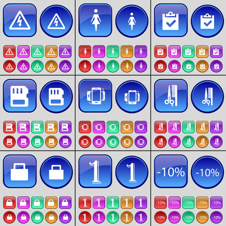 sim card: Warning, Silhouette, Survey, SIM card, Smartphone, Haircut, Lock, One, Discount. A large set of multi-colored buttons. illustration