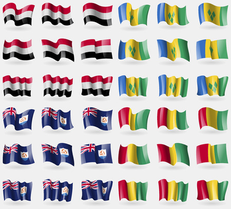 grenadines: Yemen, Saint Vincent and Grenadines, Anguilla, Guinea. Set of 36 flags of the countries of the world. illustration