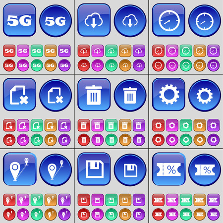 checkpoint: 5G, Cloud, Clock, File, Trash can, Gear, Checkpoint, Floppy disk, Ticket. A large set of multi-colored buttons. illustration