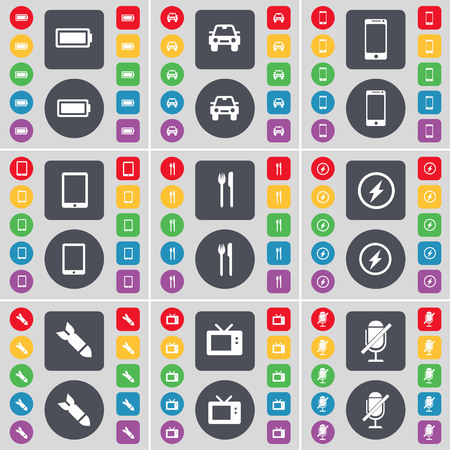 retro tv: Battery, Car, Smartphone, Tablet PC, Fork and knife, Flash, Rocket, Retro TV, Microphone icon symbol. A large set of flat, colored buttons for your design. illustration Stock Photo