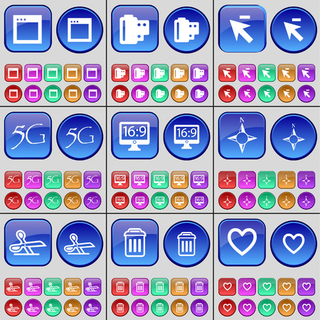 heart monitor: Window, Negative films, Cursor, 5G, Monitor, Compass, Scissors, Trash can, Heart. A large set of multi-colored buttons. illustration Stock Photo