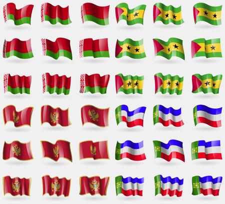 principe: Belar�s, Santo Tom� y Pr�ncipe, Montenegro, Jakasia. Conjunto de 36 banderas de los pa�ses del mundo. ilustraci�n
