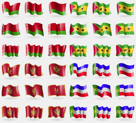tome: Belarus, Sao Tome and Principe, Montenegro, Khakassia. Set of 36 flags of the countries of the world. illustration