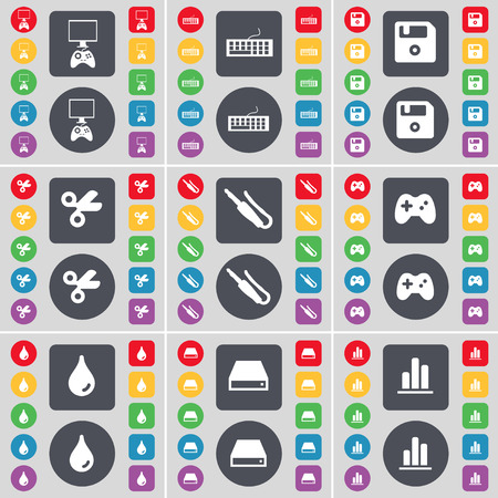 floppy drive: Game console, Keyboard, Floppy disk, Scissors, Microphone connector, Gamepad, Drop, Hard drive, Diagram icon symbol. A large set of flat, colored buttons for your design. illustration