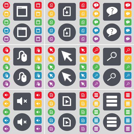 chat window: Window, Dowload file, Chat bubble, Mouse, Cursor, Magnifying glass, Mute, Media file, Apps icon symbol. A large set of flat, colored buttons for your design. illustration