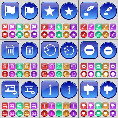 ink pot: Flag, Star, Ink pot, Trash can, Diagram, Minus, Picture, I, Sign. A large set of multi-colored buttons. illustration
