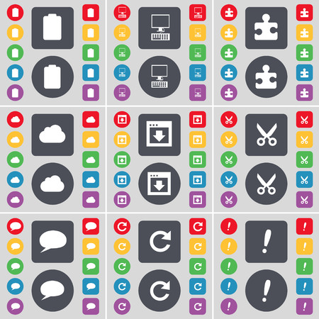 chat window: Battery, PC, Puzzle part, Cloud, Window, Airplane, Chat bubble, Reload, Exclamation mark icon symbol. A large set of flat, colored buttons for your design. illustration