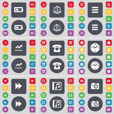 phone the clock: Battery, Scales, Apps, Graph, Retro phone, Clock, Rewind, Music window, Camera icon symbol. A large set of flat, colored buttons for your design. illustration