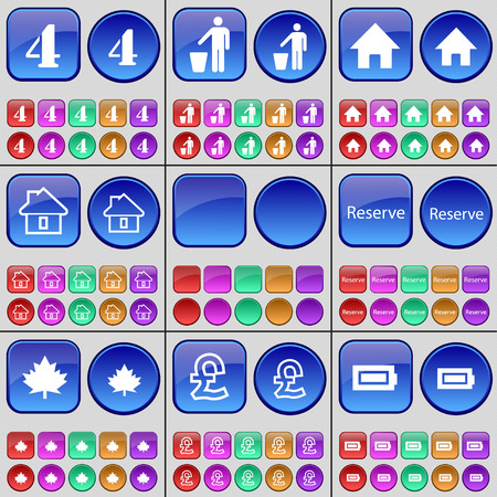 reserve: Four, Silhouette, House, House, Reserve, Maple, Pound, Battery. A large set of multi-colored buttons. illustration