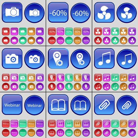 checkpoint: Camera, Discount, Screw, Camera, Checkpoint, Note, Webinar, Book, Clip. A large set of multi-colored buttons. illustration