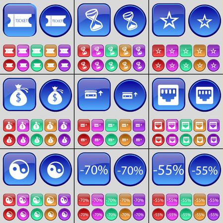lan: Ticket, Hourglass, Star, Money bag, Cassette, LAN socket, Yin-Yang, Discount. A large set of multi-colored buttons. illustration