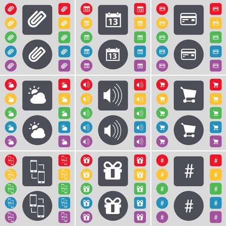 sound card: Clip, Calendar, Credit card, Cloud, Sound, Shopping cart, Information exchange, Gift, Hashtag icon symbol. A large set of flat, colored buttons for your design. illustration