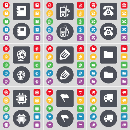mp3 player: Notebook, MP3 player, Retro phone, Globe, Pencil, Folder, Processor, Flag, Truck icon symbol. A large set of flat, colored buttons for your design. illustration