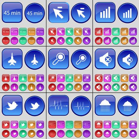 jet plane: 45 minutes, Cursor, Diagram, Jet plane, Magnifying glass, Mute, Bird, Pulse, Shower. A large set of multi-colored buttons. illustration