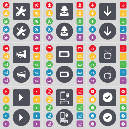 retro tv: Wrench, Avatar, Arrow down, Megaphone, Battery, Retro TV, Media play, Smartphone, Tick icon symbol. A large set of flat, colored buttons for your design. illustration