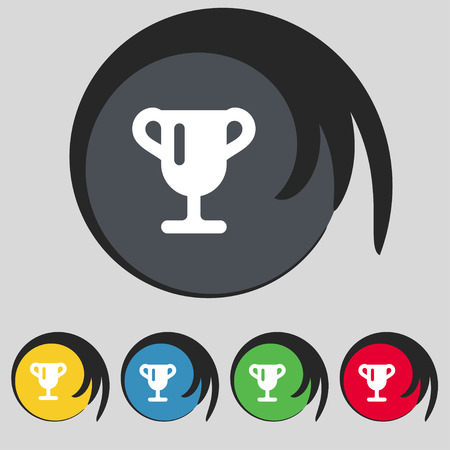 awarding: Winner cup, Awarding of winners, Trophy icon sign. Symbol on five colored buttons. illustration