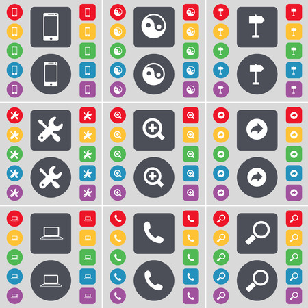wrech: Smartphone, Tin-Yang, Signpost, Wrech, Magnifying glass, Back, Laptop, Receiver, Magnifying glass icon symbol. A large set of flat, colored buttons for your design. illustration