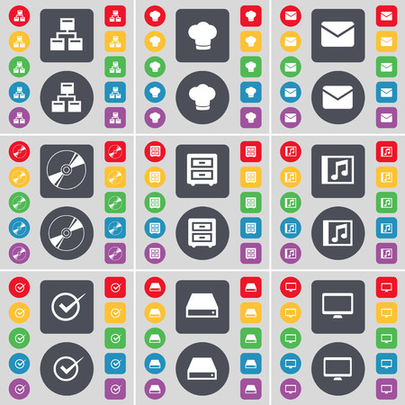 bedtable: Network, Cooking hat, Message, Disk, Bed-table, Music window, Tick, Hard drive, Monitor icon symbol. A large set of flat, colored buttons for your design. illustration