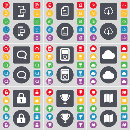 sms text: SMS, Text file, Cloud, Chat bubble, Player, Cloud, Lock, Cup, Map icon symbol. A large set of flat, colored buttons for your design. illustration Stock Photo