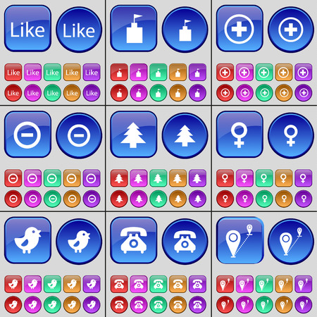 venus symbol: Like, Flag tower, Plus, Minus, Fir tree, Venus symbol, Bird, Retro phone, Checkpoint. A large set of multi-colored buttons. illustration
