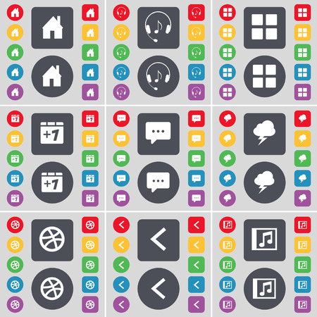 chat window: House, Headphones, Apps, Plus one, Chat bubble, Lightning, Ball, Arrow left, Music window icon symbol. A large set of flat, colored buttons for your design. illustration