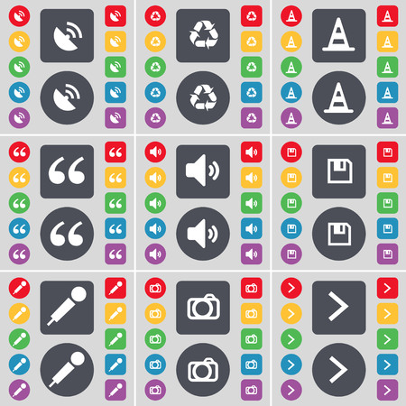 arrow right icon: Satellite dish, Recycling, Cone, Quotation mark, Sound, Floppy, Microphone, Camera, Arrow right icon symbol. A large set of flat, colored buttons for your design. illustration Stock Photo