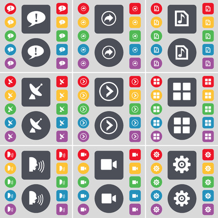 arrow right: Chat bubble, Back, Music file, Satellite dish, Arrow right, Apps, Talk, Film camera, Gear icon symbol. A large set of flat, colored buttons for your design. illustration