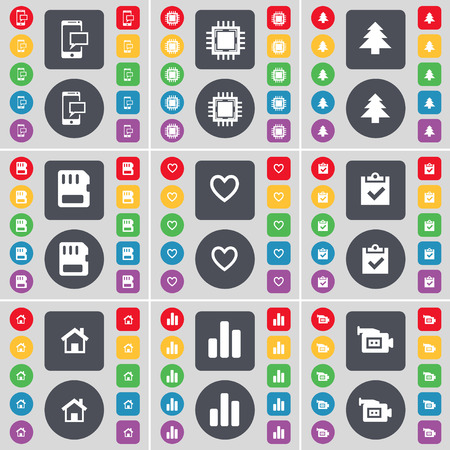 house diagram: SMS, Processor, Firtree, SIM card, Heart, Survey, House, Diagram, Film camera icon symbol. A large set of flat, colored buttons for your design. illustration
