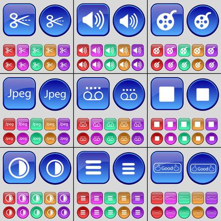 jpeg: Scooter, Sound, Videotape, Jpeg, Cassette, Media stop, Brightness, Apps, Like. A large set of multi-colored buttons. illustration