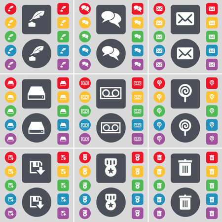 floppy drive: Ink pot, Chat, Message, Hard drive, Cassette, Lollipop, Floppy, Medal, Trash can icon symbol. A large set of flat, colored buttons for your design. illustration