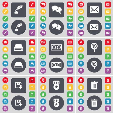 ink pot: Ink pot, Chat, Message, Hard drive, Cassette, Lollipop, Floppy, Medal, Trash can icon symbol. A large set of flat, colored buttons for your design. illustration