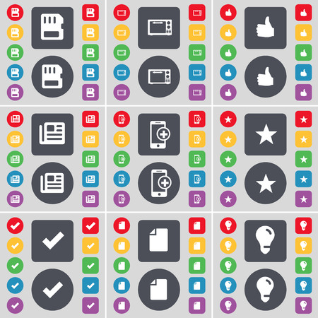 sim card: SIM card, Microphone, Like, Newspaper, Smartphone, Star, Tick, File, Light bulb icon symbol. A large set of flat, colored buttons for your design. illustration