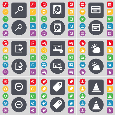 disco duro: Magnifying glass, Hard drive, Credit card, Survey, Picture, Cloud, Minus, Tag, Cone icon symbol. A large set of flat, colored buttons for your design. illustration