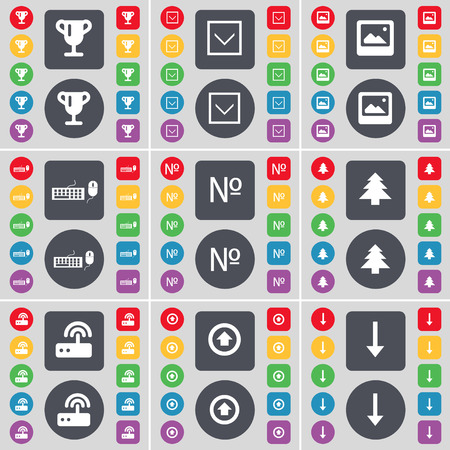 arrow down: Cup, Arrow down, Window, Keyboard, Number, Firtree, Router, Arrow up, Arrow down icon symbol. A large set of flat, colored buttons for your design. illustration Stock Photo