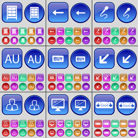 au: Archive, Arrow left, Microphone, AU, Buy, Deploying screen, Avatar, Monitor, Like. A large set of multi-colored buttons. illustration