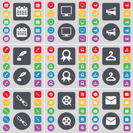 ink pot: Calendar, Monitor, Megaphone, Ink pot, Medal, Hanger, Link, Videotape, Message icon symbol. A large set of flat, colored buttons for your design. illustration